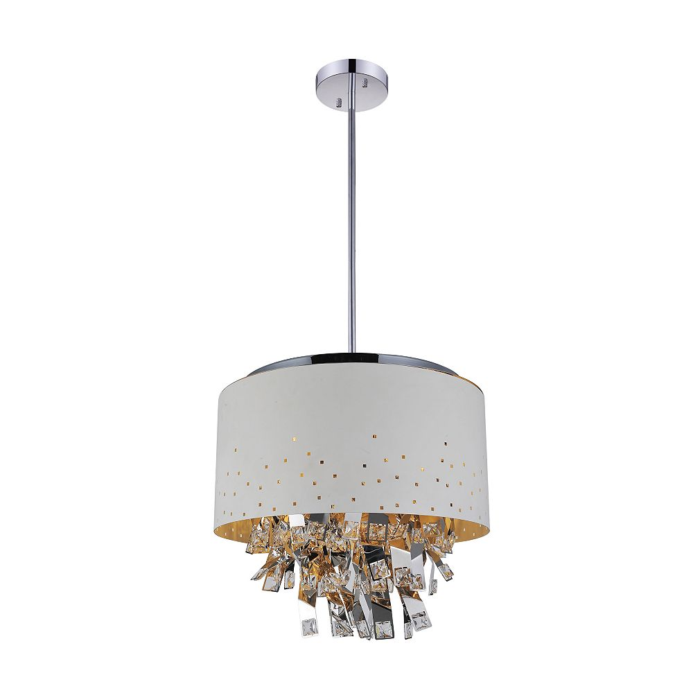 CWI Lighting Carmella 24 inch 9 Light Chandelier with White Finish