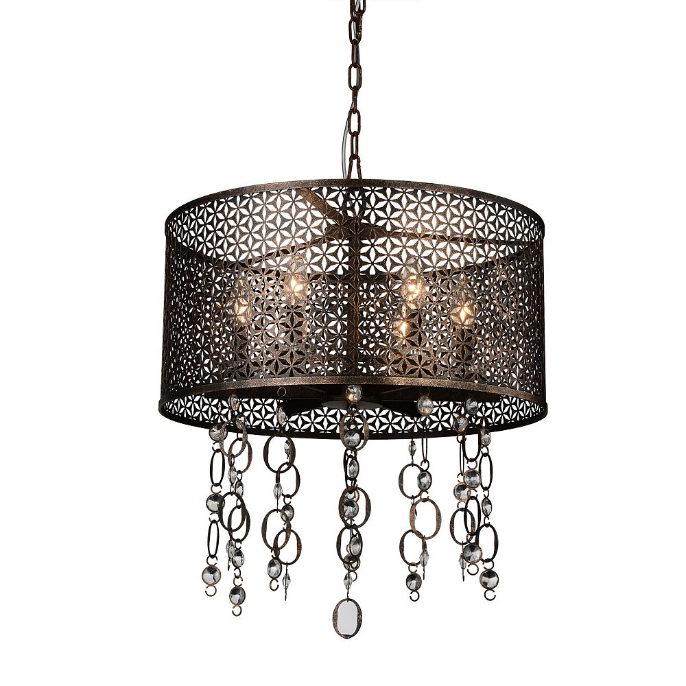 CWI Lighting Pollett 20 inch 6 Light Chandelier with Golden Bronze Finish