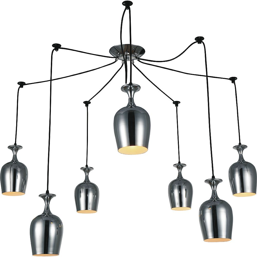 CWI Lighting Merlot 30 inch 7 Light Chandelier with Chrome Finish