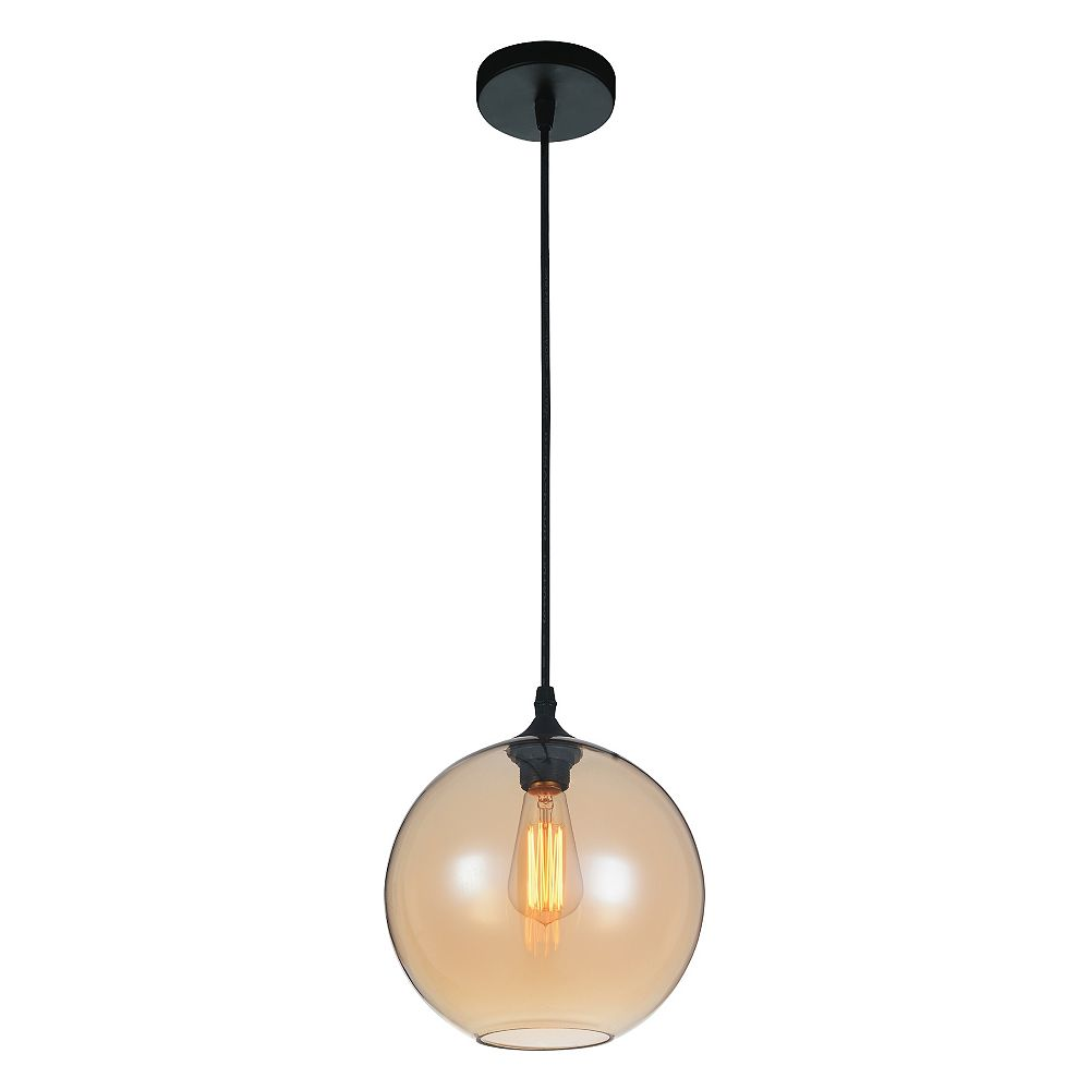 CWI Lighting Glass 10 inch 1 Light Mini Pendant with Transparent Amber Shade