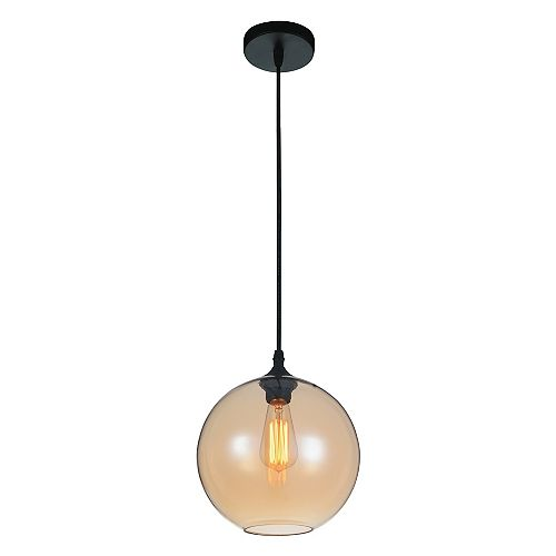 """CWI 10"""" Glass 1 Lumière Mini Pendentif avec Ombre Ambre Ombre Transparent"""