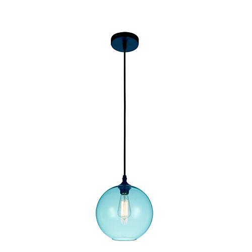 """CWI 10"""" Glass 1 Lumière Mini Pendentif avec Ombre Bleu Ombre Transparent"""