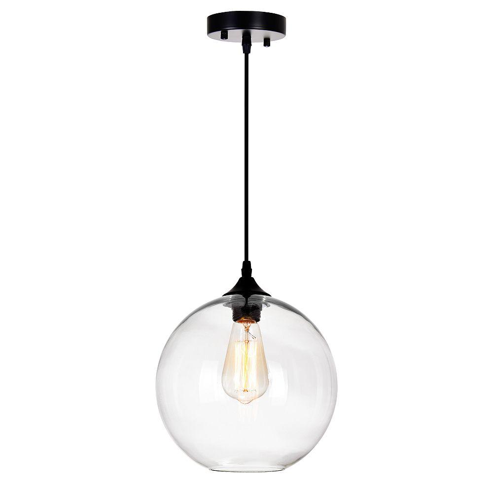 """CWI Lighting CWI 10"""" Glass 1 Lumière Mini Pendentif avec Ombre Transparent"""