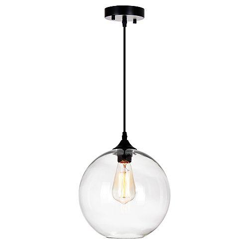 """CWI 10"""" Glass 1 Lumière Mini Pendentif avec Ombre Transparent"""