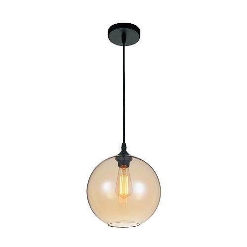 """CWI 10"""" Glass 1 Lumière Mini Pendentif avec Ombre Fini Cognac Ombre Transparent"""