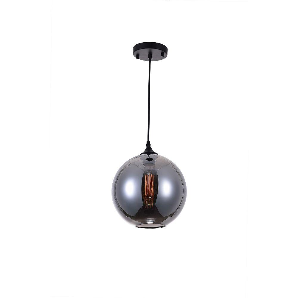 CWI Lighting Glass 10 inch 1 Light Mini Pendant with Transparent Smoke Shade