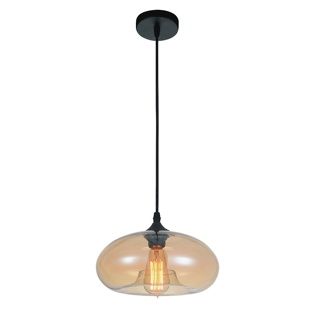 CWI Lighting Glass 11 inch Single Light Mini Pendant with Transparent Amber Shade