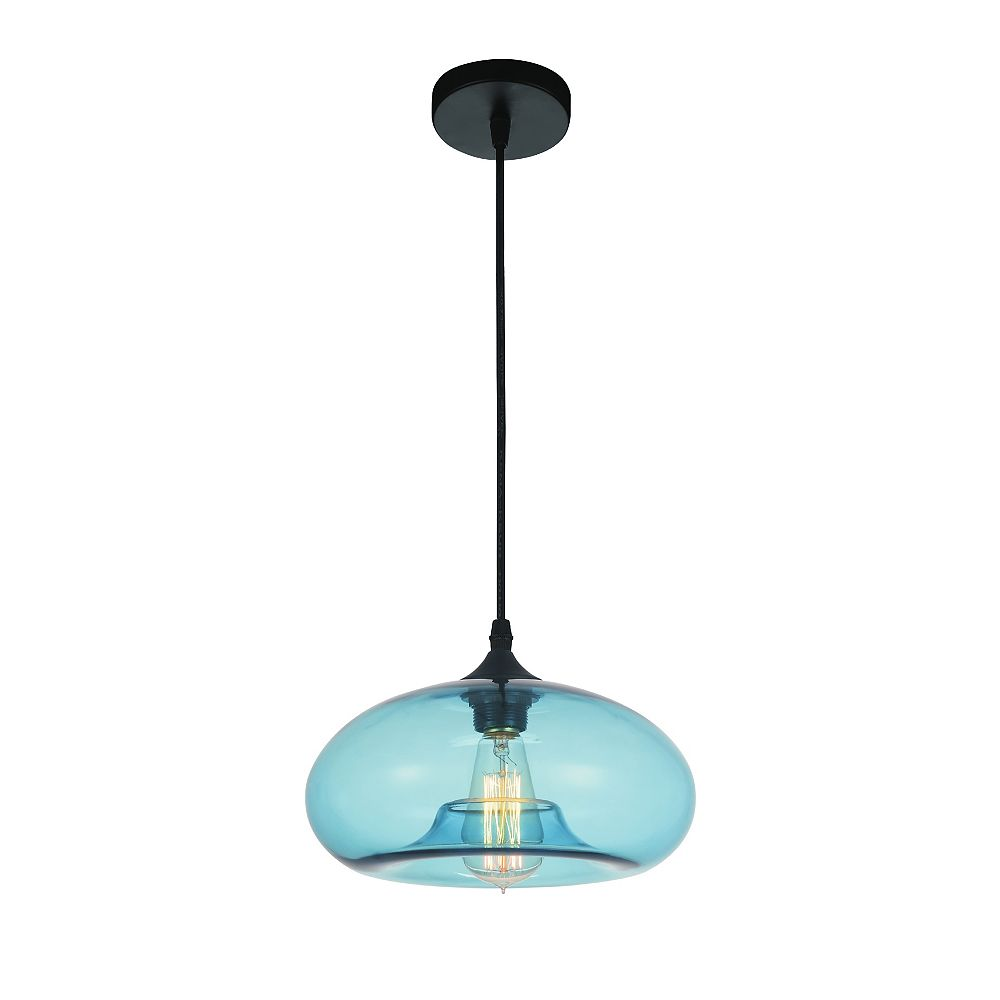 CWI Lighting Glass 11 inch 1 Light Mini Pendant with Transparent Blue Shade
