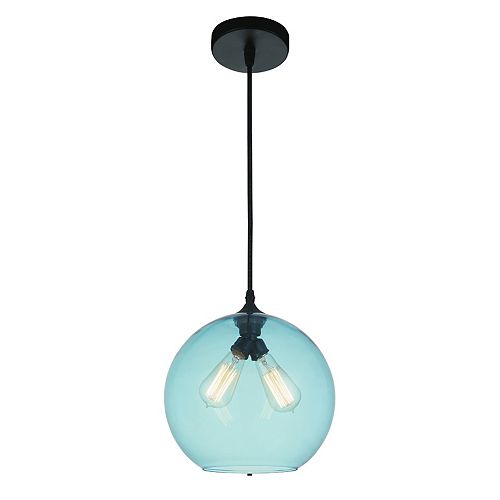 CWI Lighting Glass 12 inch 2 Light Mini Pendant with Transparent Blue Shade