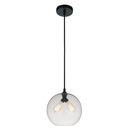 """CWI 12"""" Glass 2 Lumière Mini Pendentif avec Ombre Transparent"""