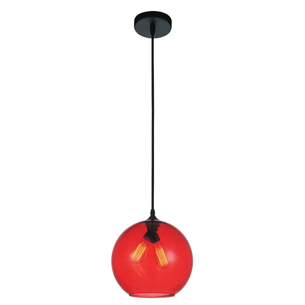 CWI Lighting Glass 12 inch 2 Light Mini Pendant with Transparent Red Shade