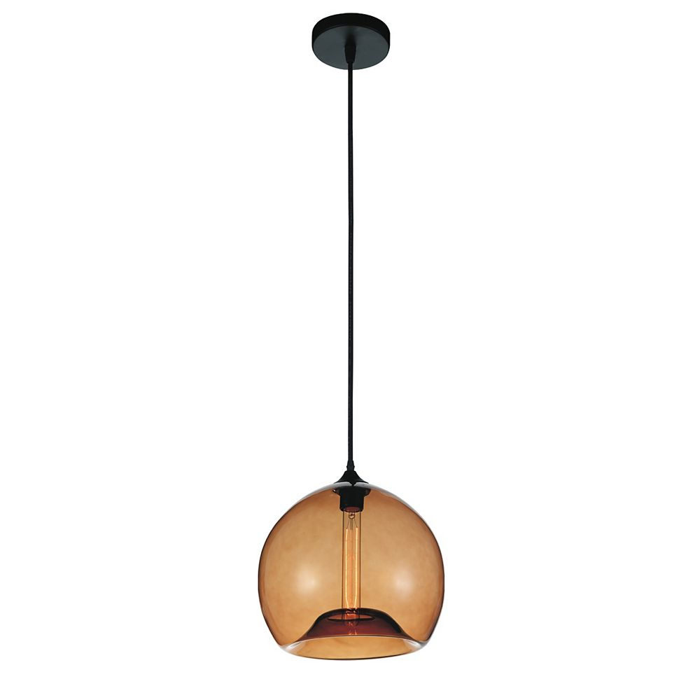 CWI Lighting Glass 12 inch 1 Light Mini Pendant with Transparent Amber Shade