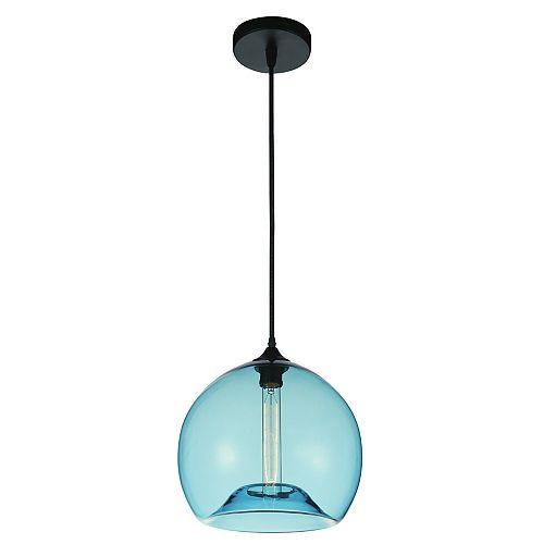 """CWI 12"""" Glass 1 Lumière Mini Pendentif avec Ombre Bleu Ombre Transparent"""