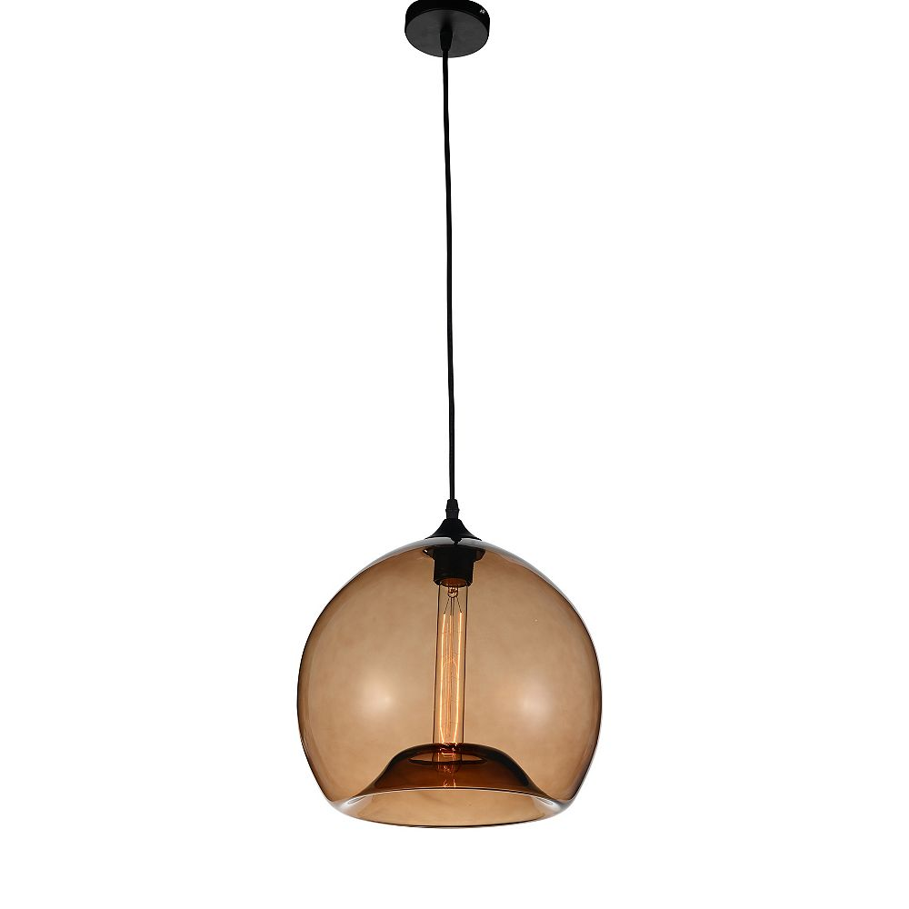 CWI Lighting Glass 12 inch 1 Light Mini Pendant with Transparent Brown Shade