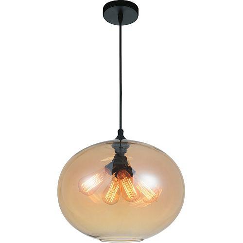 """CWI 16"""" Glass 4 Lumière Lustre avec Ombre Ambre Ombre Transparent"""