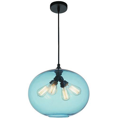 """CWI 16"""" Glass 4 Lumière Lustre avec Ombre Bleu Ombre Transparent"""
