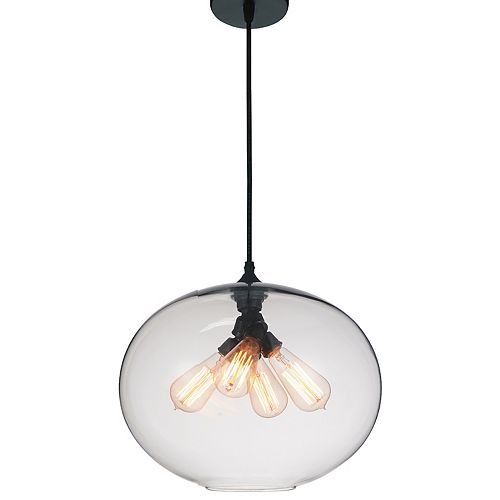 Glass 16-inch 4-Light Chandelier with Transparent Shade