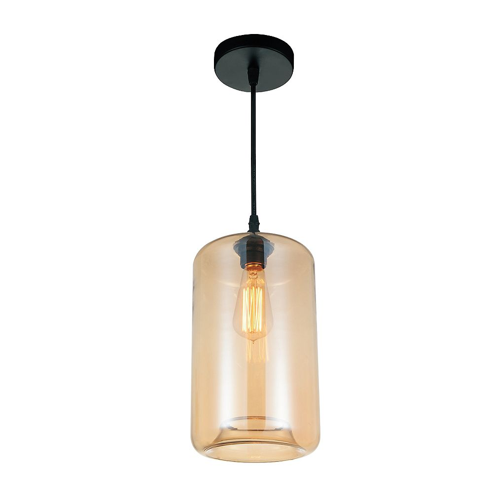 CWI Lighting Glass 7-inch Single Light Pendant with Transparent Amber Shade