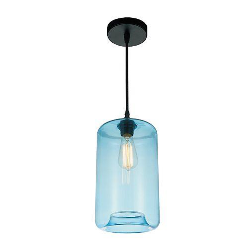 """CWI 7"""" Glass 1-Lumière Mini Pendentif avec Ombre Bleu Ombre Transparent"""