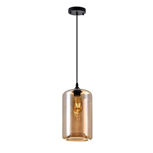 """CWI 7"""" Glass 1-Lumière Mini Pendentif avec Ombre Fini Cognac Ombre Transparent"""