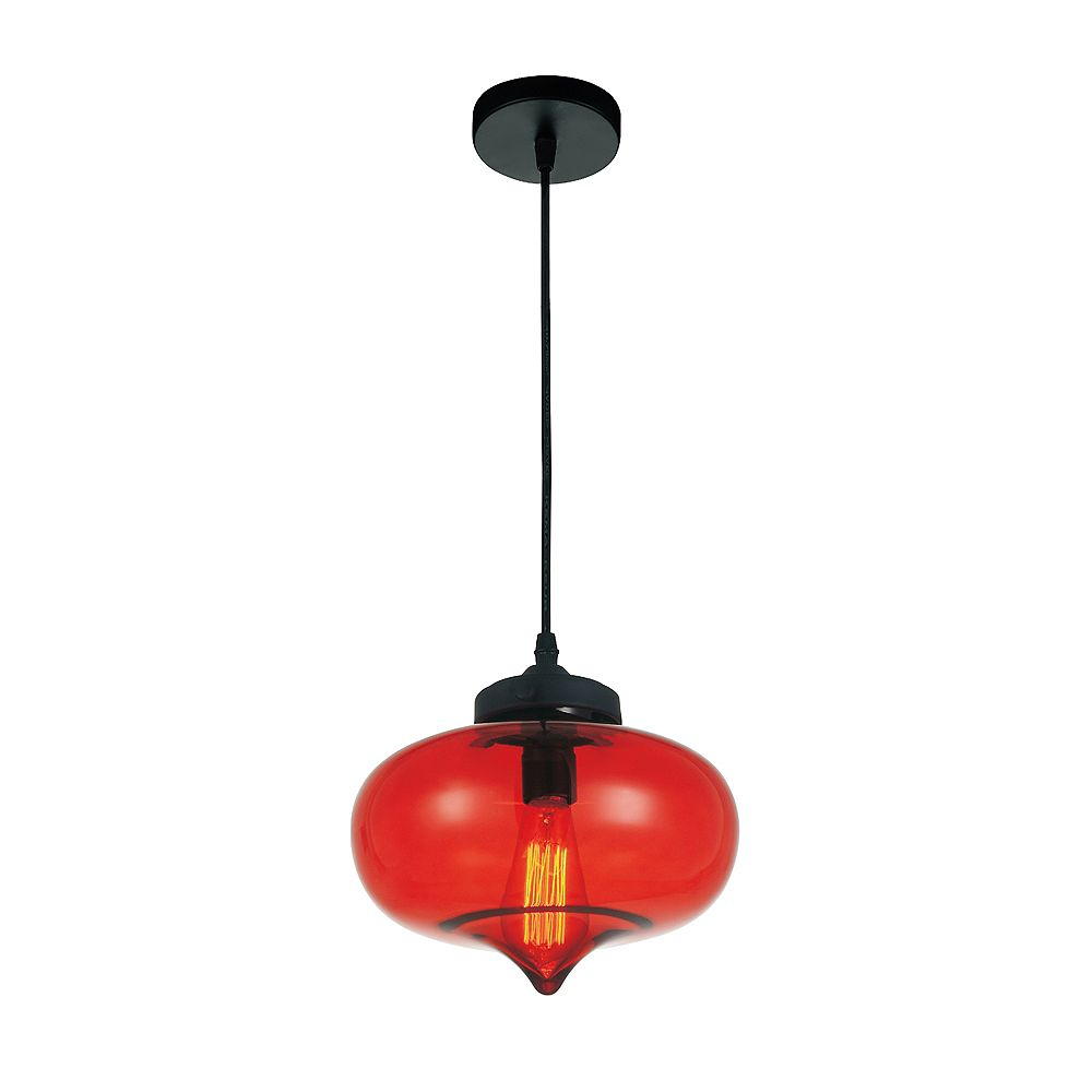 CWI Lighting Glass 11 inch 1 Light Mini Pendant with Transparent Red Shade