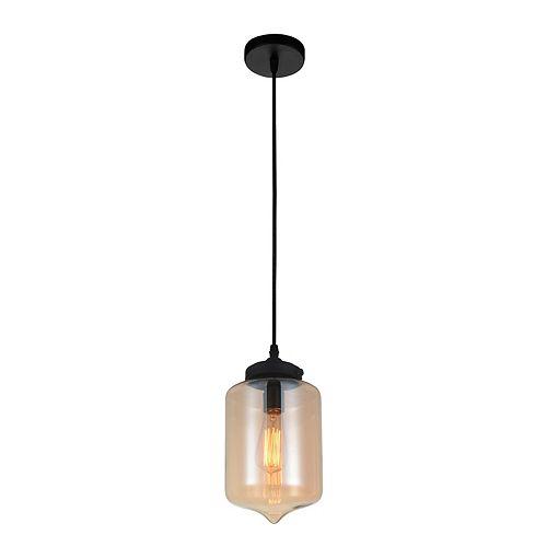 """CWI 7"""" Glass 1 Lumière Mini Pendentif avec Ombre Ambre Ombre Transparent"""