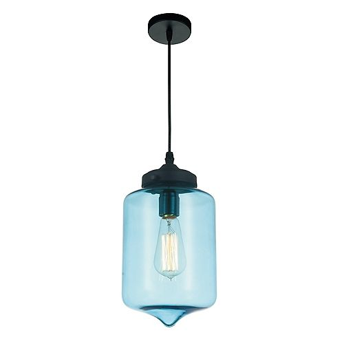 """CWI 7"""" Glass 1 Lumière Mini Pendentif avec Ombre Bleu Ombre Transparent"""