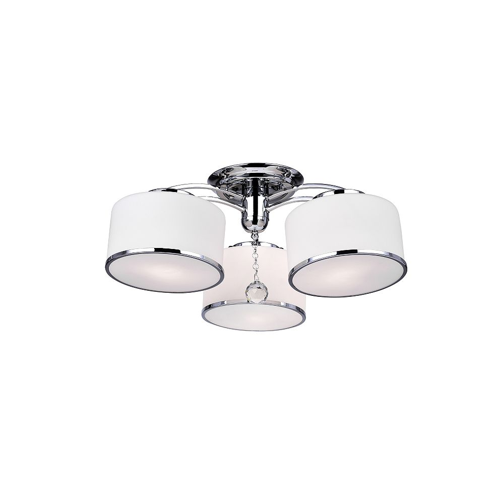 CWI Lighting Frosted 24 inch 3 Light Flush Mount with Chrome Finish