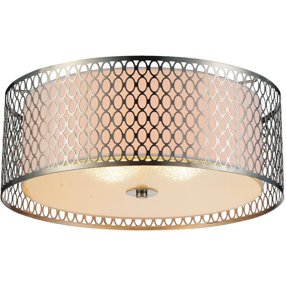 CWI Lighting Mikayla 17 inch 3 Light Flush Mount with Chrome Finish