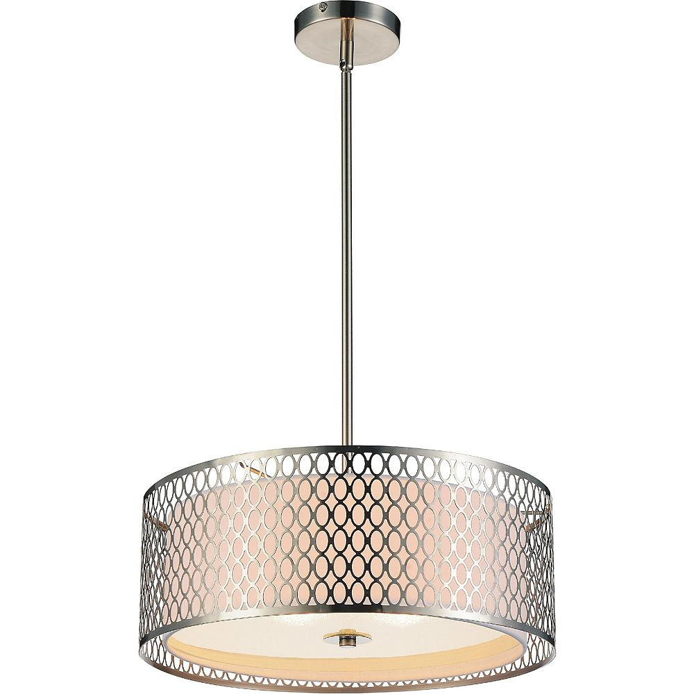 CWI Lighting Mikayla 17-inch 3-Light Chandelier with Satin Nickel Finish