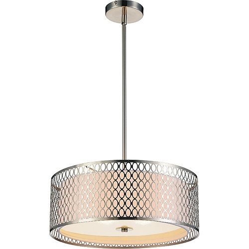 Mikayla 17-inch 3-Light Chandelier with Satin Nickel Finish