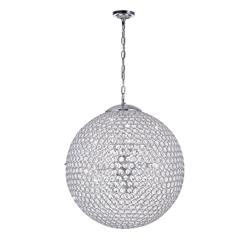 CWI Lighting Globe 20 inch 9 Light Chandelier with Chrome Finish