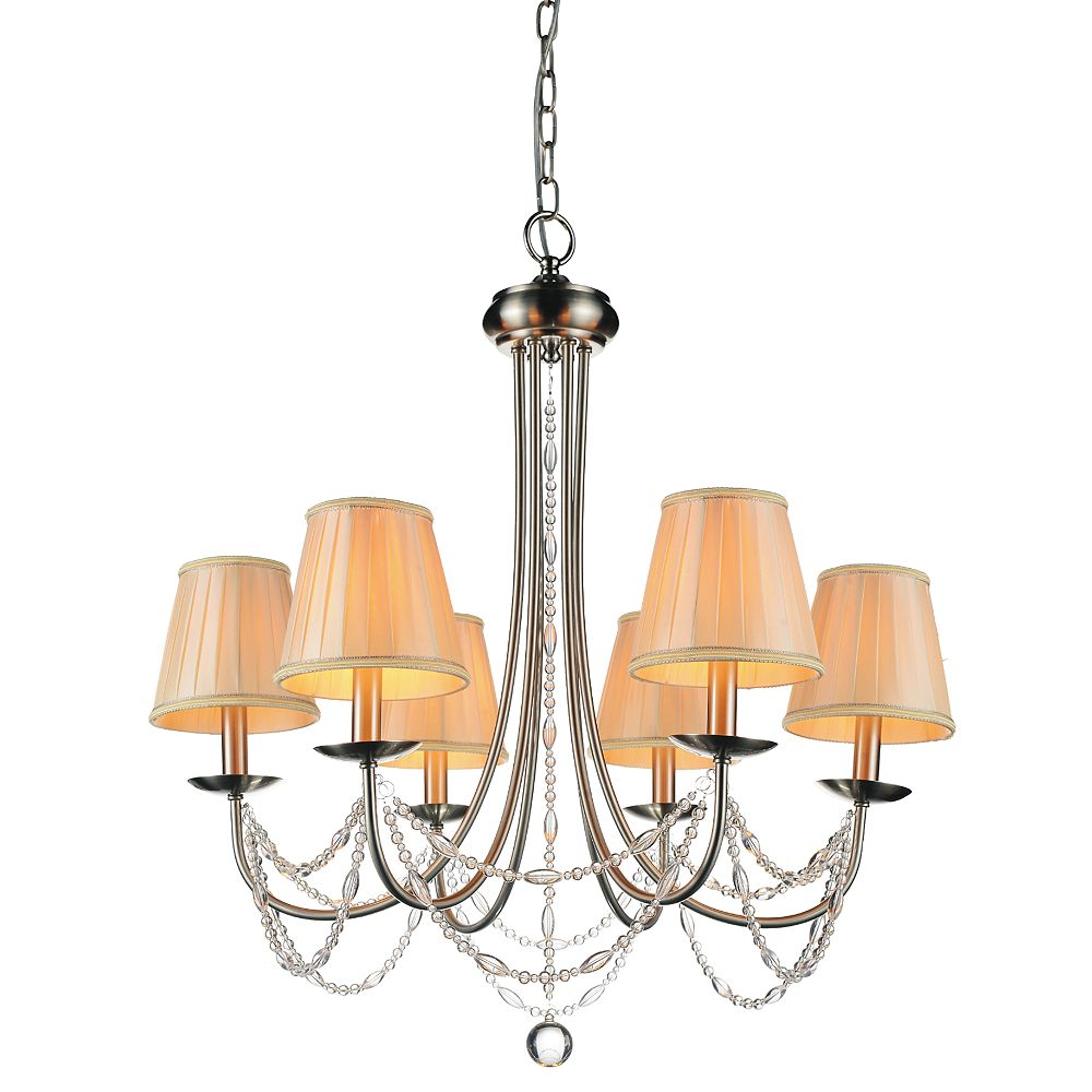 CWI Lighting Paulie 28 inch 6 Light Chandelier with Satin Nickel Finish
