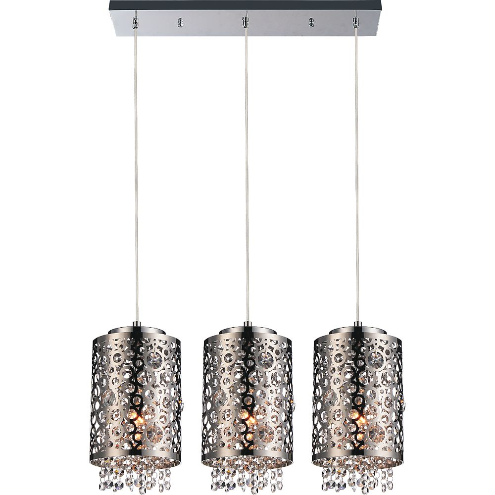 CWI Lighting Bubbles 34 inch 3 Light Chandelier with Chrome Finish