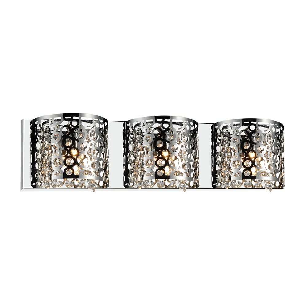 CWI Lighting Bubbles 25-inch 3 Light Wall Sconce with Chrome Finish