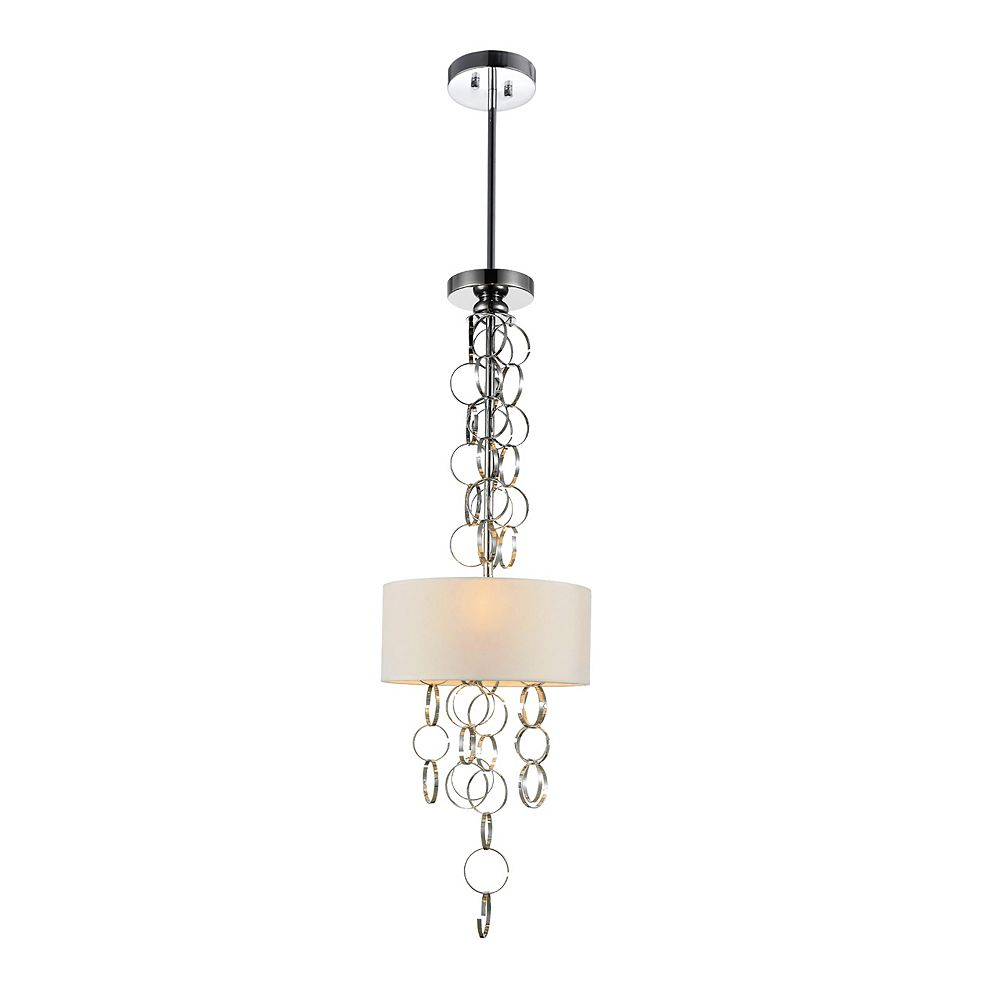 CWI Lighting Chained 11 inch 3 Light Mini Pendant with Chrome Finish