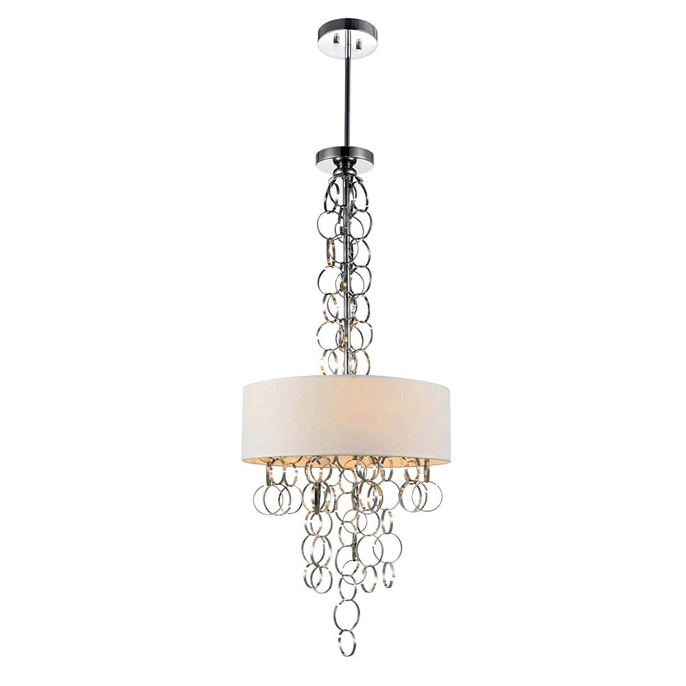 CWI Lighting Chained 20 inch 6 Light Chandelier with Chrome Finish