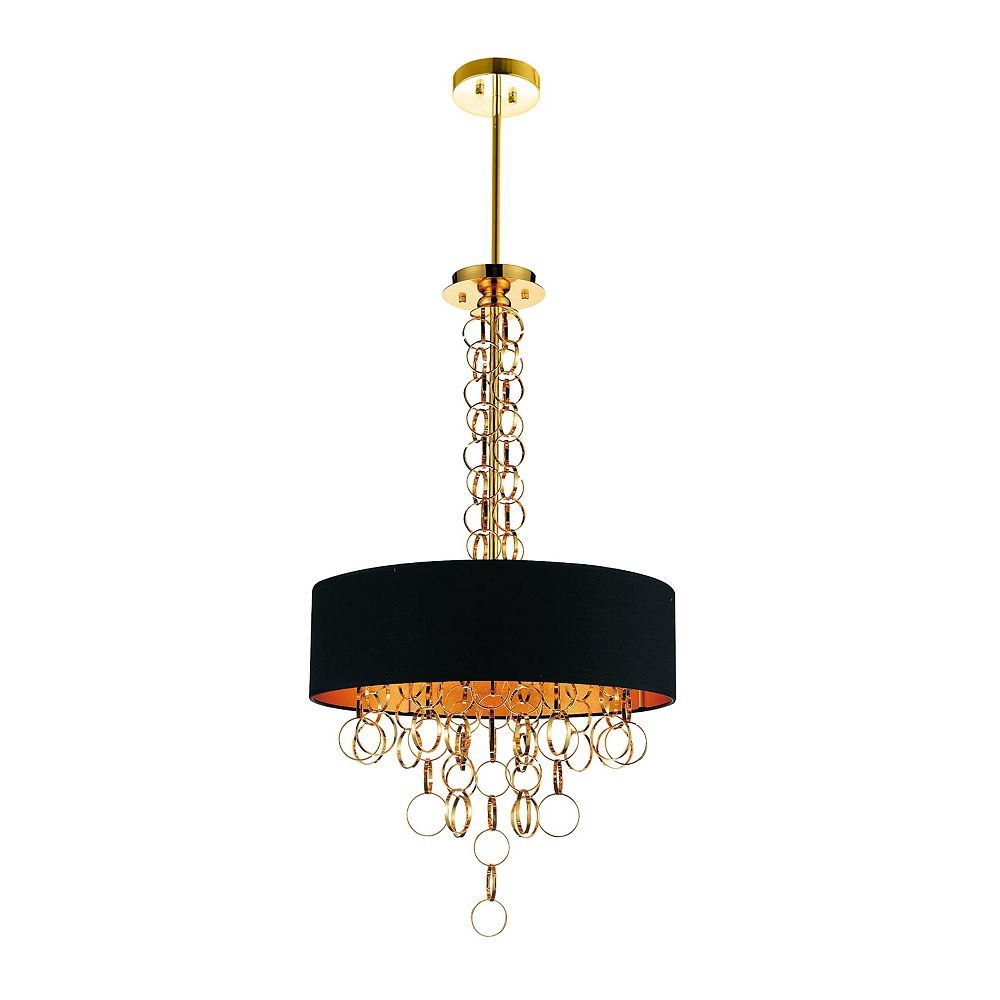 CWI Lighting Chained 20 inch 6 Light Chandelier with Gold Finish