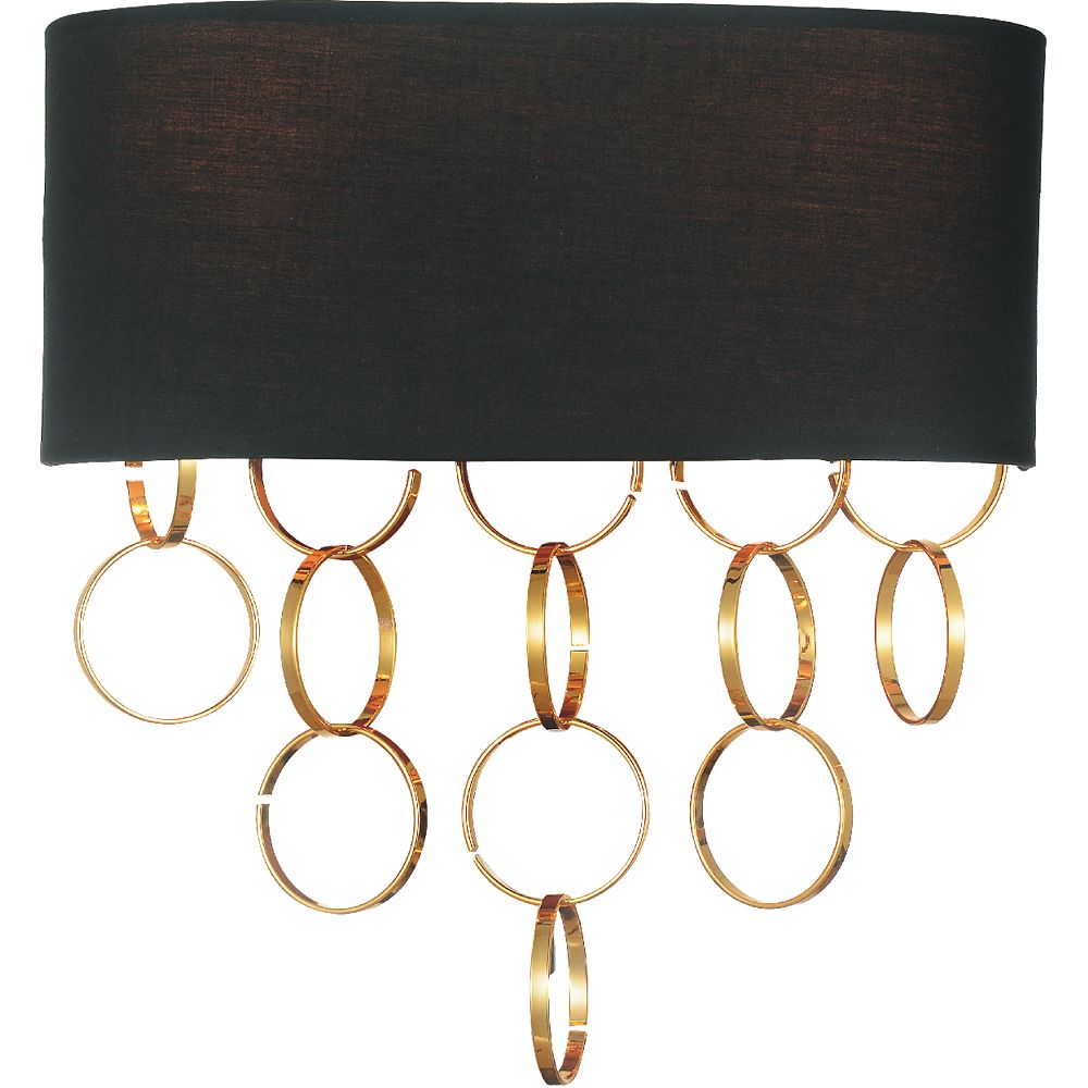 CWI Lighting Chained 12 inch 2 Light Wall Sconce with Gold Finish