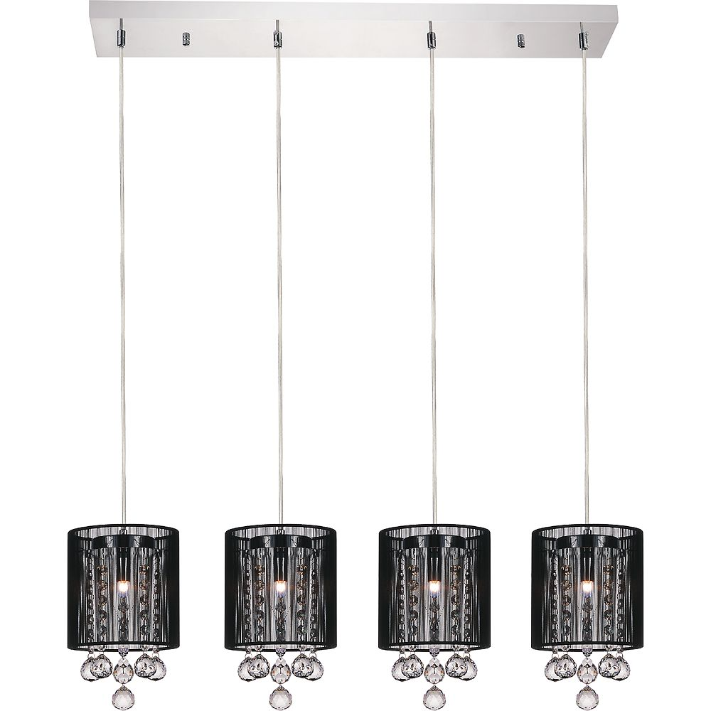 CWI Lighting Shower 33-inch 4 Light Chandelier with Chrome Finish