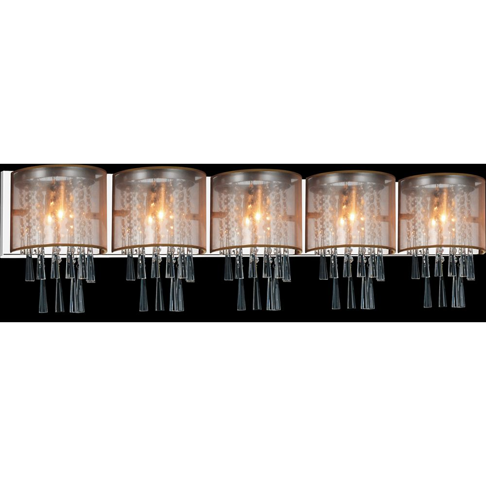 CWI Lighting Renee 49 inch 5 Light Sconce with Chrome Finish