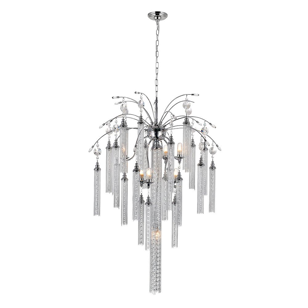 CWI Lighting Chloe 28 inch 7 Light Chandelier with Chrome Finish