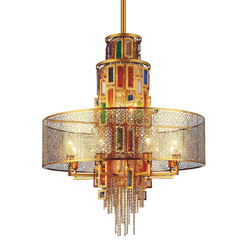 CWI Lighting Stained 32 inch 15 Light Chandelier with Gold Finish