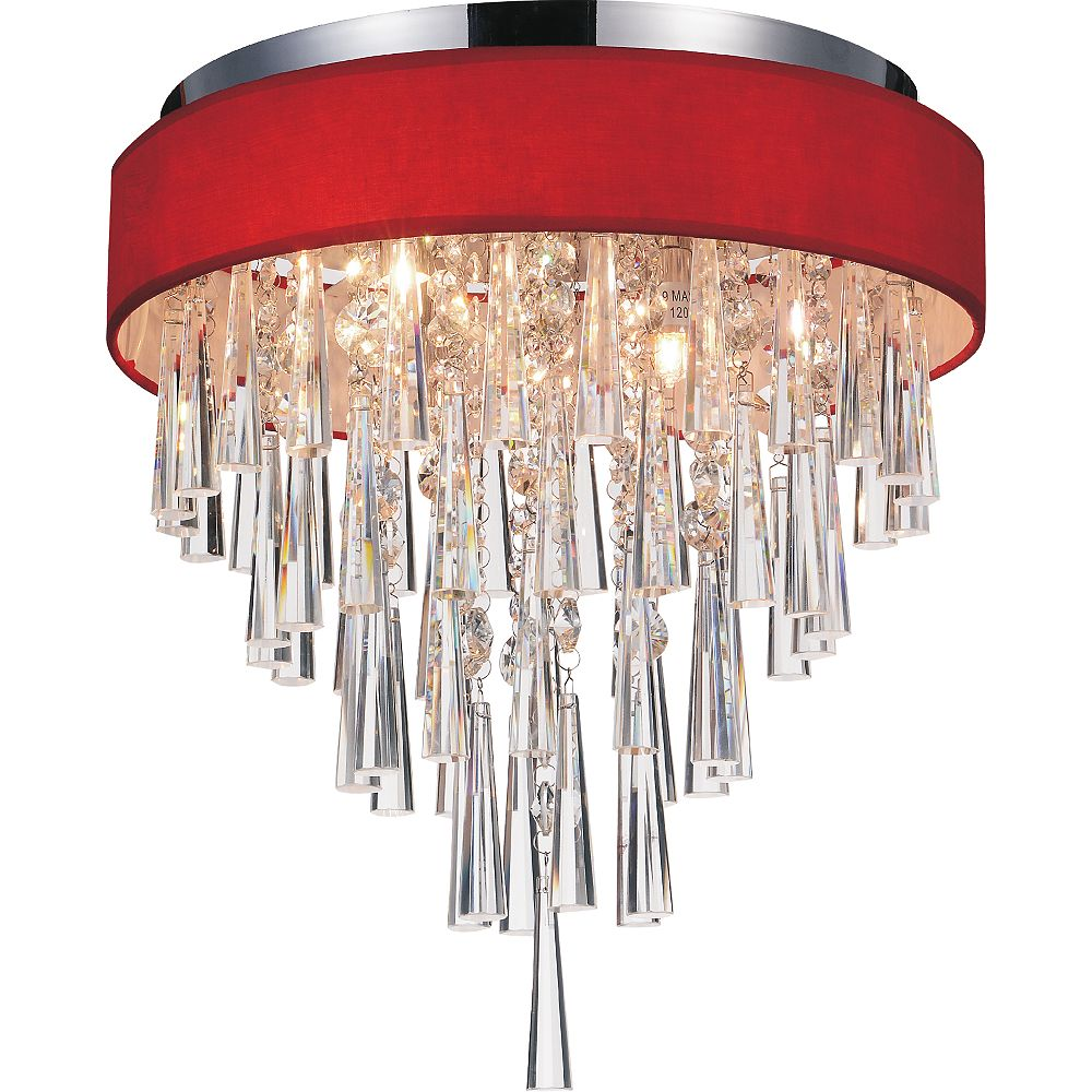 CWI Lighting Franca 16 inch 4 Light Flush Mount with Chrome Finish and Red Shade