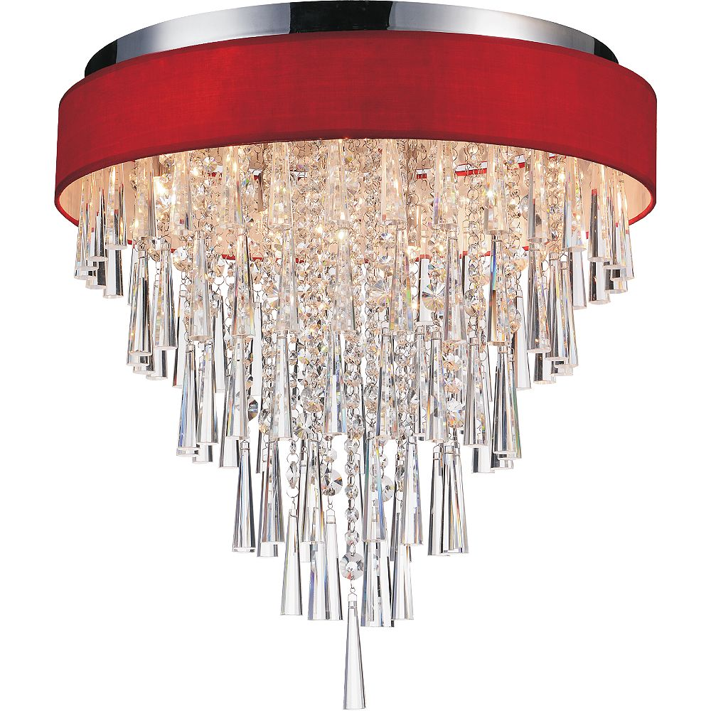 CWI Lighting Franca 22 inch 8 Light Flush Mount with Chrome Finish and Red Shade