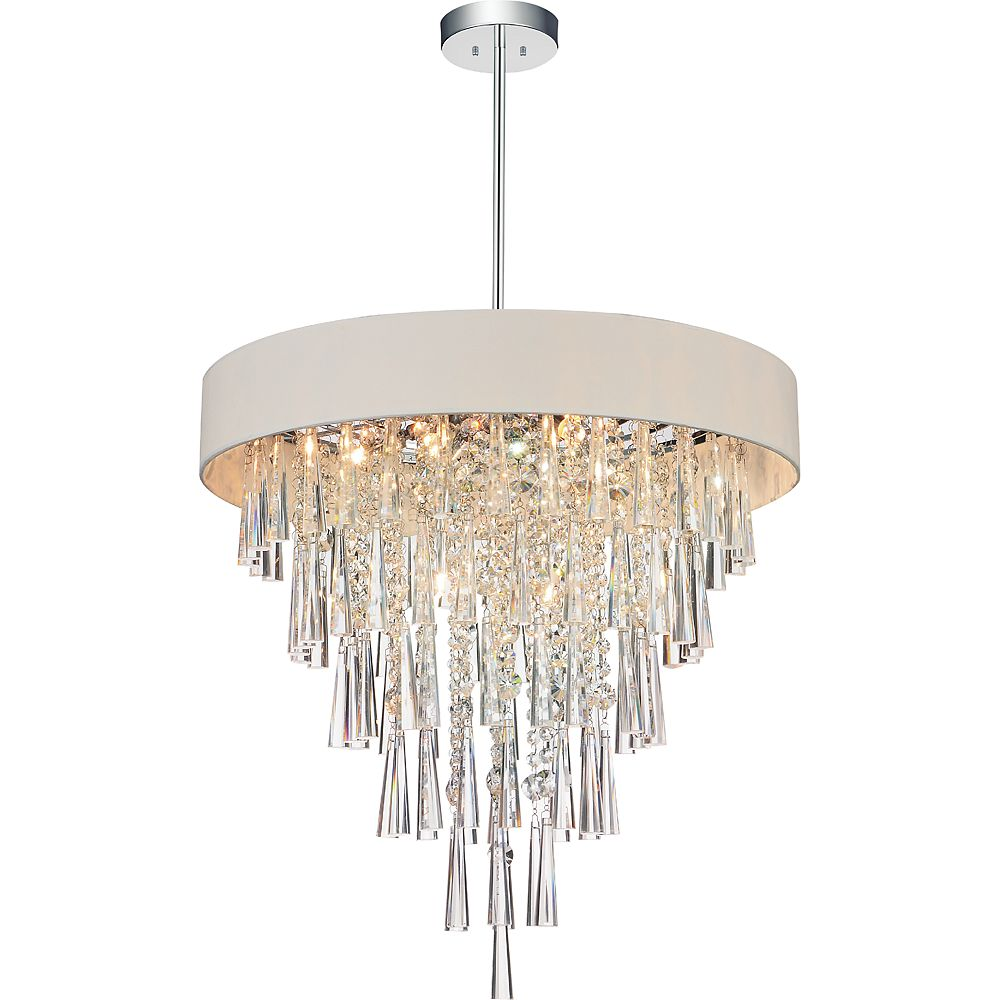 CWI Lighting Franca 22 inch 8 Light Chandelier with Chrome Finish