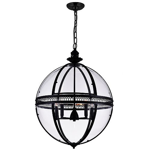Lune 24 inch 5 Light Chandelier with Sphere Shape and Black Finish