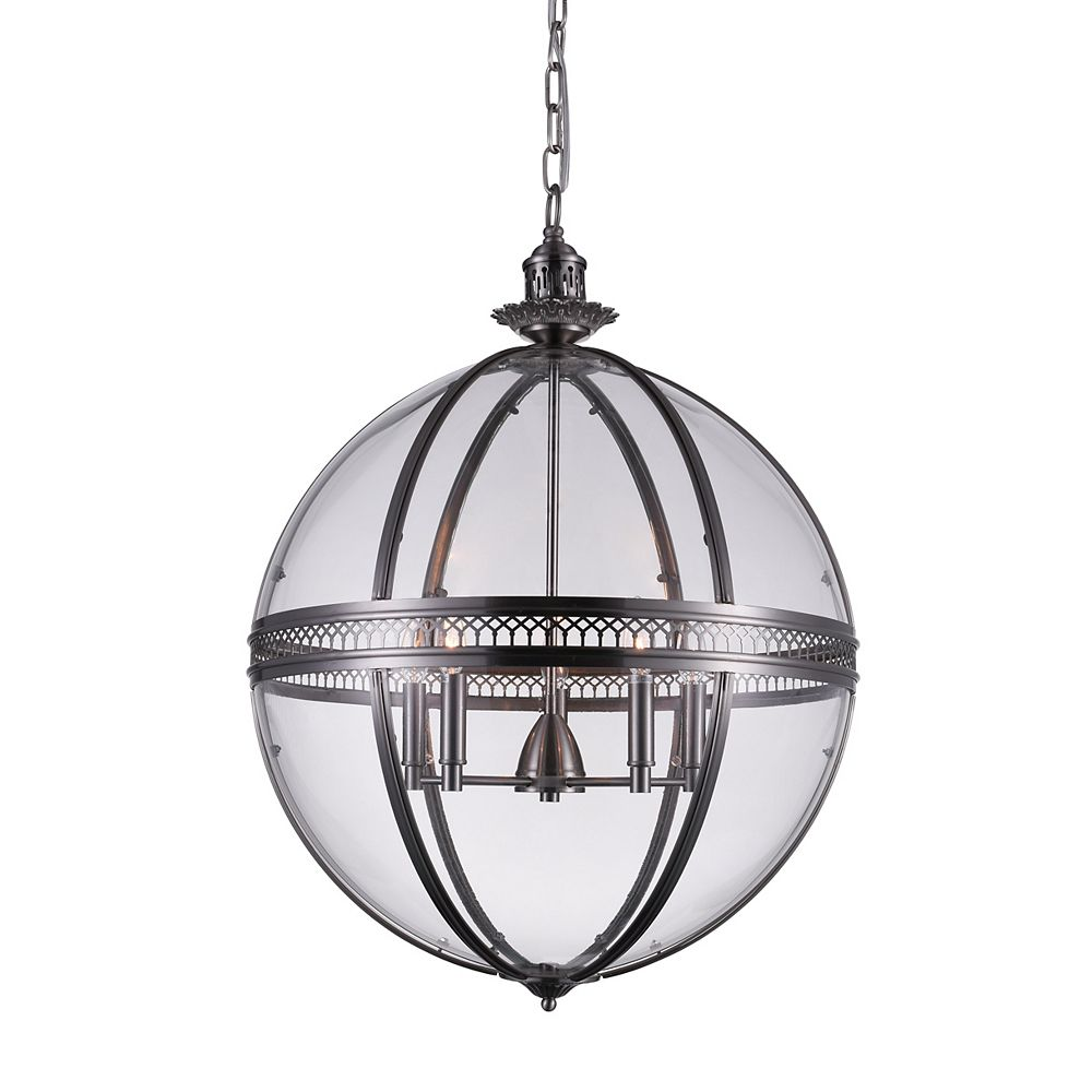CWI Lighting Lune 24 inch 5 Light Chandelier with Sphere Shape and Satin Nickel Finish