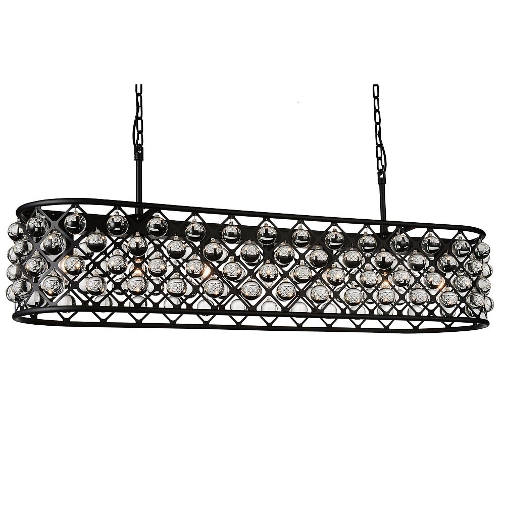 CWI Lighting Renous 61 inch 8 Light Chandelier with Black Finish and Clear Crystals