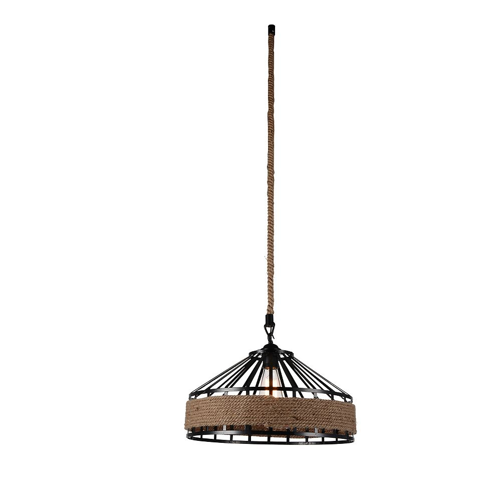 CWI Lighting Padma 16-inch 1-Light Chandelier with Black Finish